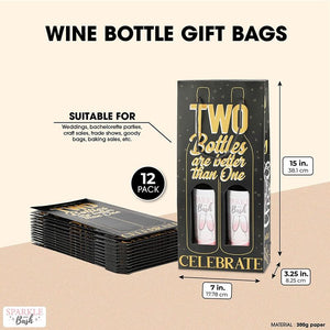 2 Bottle Wine Gift Bags, Two Bottles are Better Than One (7 x 15 x 3.25 In, 12 Pack)
