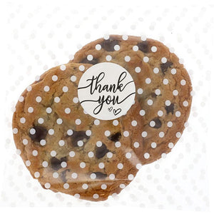 Polka Dot Goodie Bags, Thank You Stickers for Party Favors (White, 5.5 in, 250 Pack)