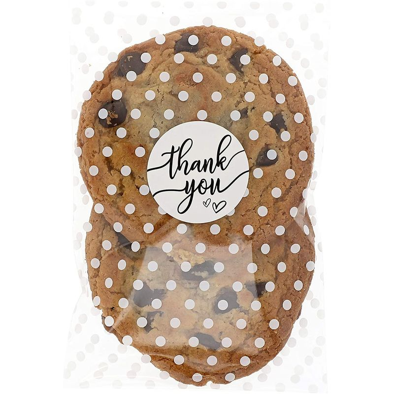 White Polka Dot Cellophane Cookie Bags, Thank You Stickers (4 x 6 in, 250 Pack)