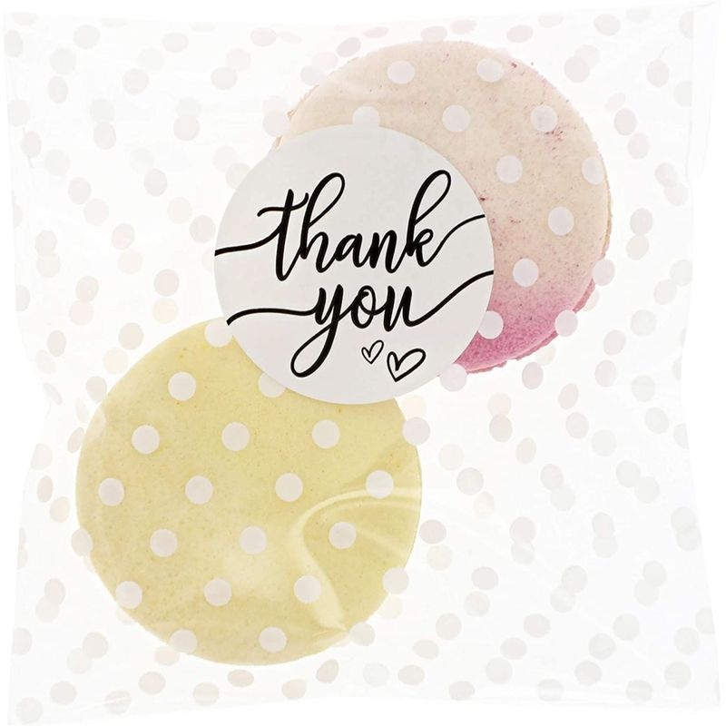 Polka Dot Goodie Bags, Thank You Stickers for Party Favors (White, 4 in, 250 Pack)