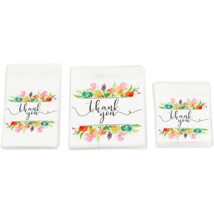 Floral Thank You Goodie Bags, Party Decor in 3 Sizes (300 Pack)