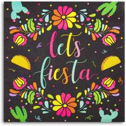 Let's Fiesta Printed Dinner Napkins Cinco de Mayo Party (6.5 In, Black, 100 Pack)