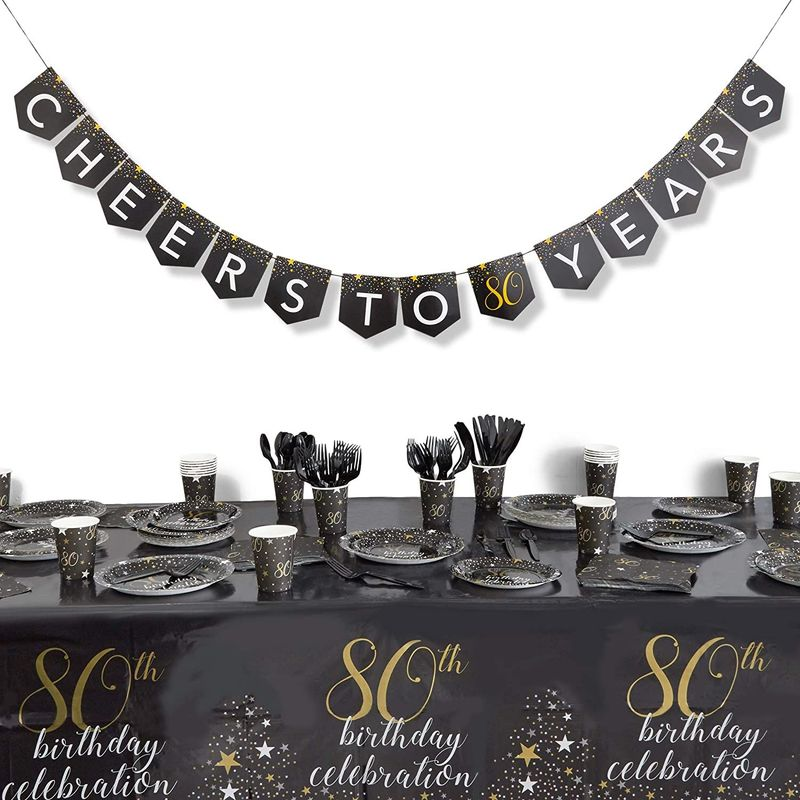 80th Birthday Party Pack, Dinnerware Set and Banner (Serves 24, 171 Pieces)
