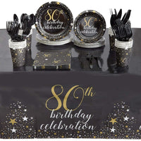 80th Birthday Party Pack, Dinnerware Set and Banner (Serves