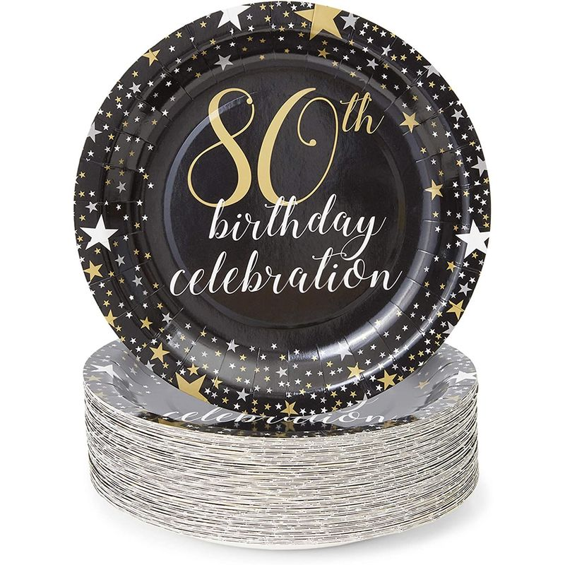 80th Birthday Party Paper Plates (9 Inches, 80 Pack)