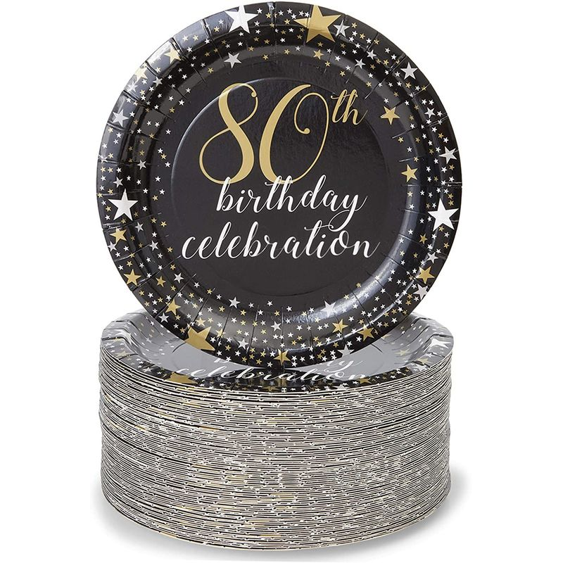 Paper Plates for 80th Birthday Party, Gold Foil (Black, 7 In