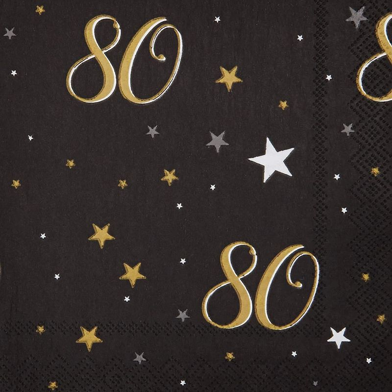80th Birthday Paper Napkins (6.5 x 6.5 In, 100 Pack)