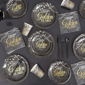 Paper Plates for Retirement Party Supplies, Gold Foil (Black, 9 In, 48 Pack)