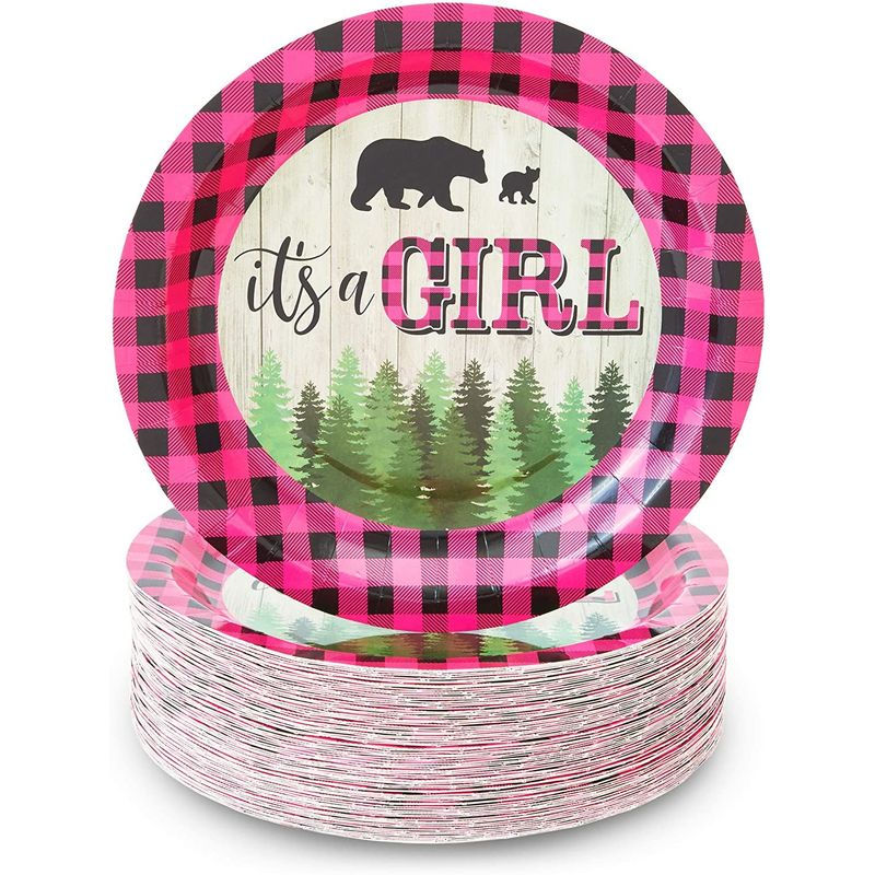 Buffalo Plaid Paper Plates, It's A Girl Baby Shower Party (9