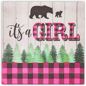 Buffalo Plaid Napkins, It's A Girl Baby Shower (6.5 In, 100