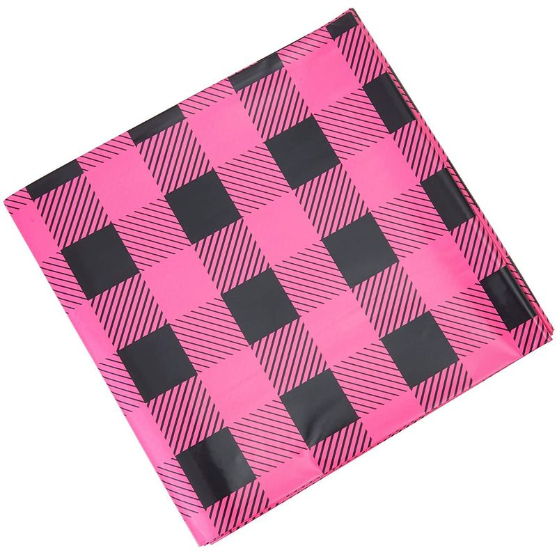 Sparkle and Bash Buffalo Plaid Table Covers for Girl Baby Shower (54 x 108 in, 3 Pack)