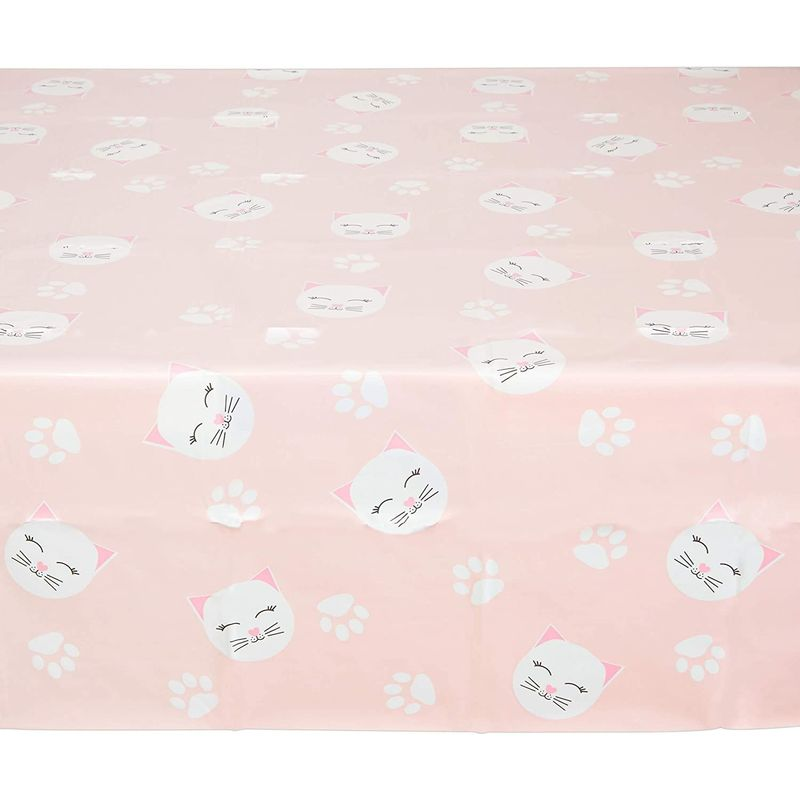 Pink Plastic Tablecloth for Cat Birthday Party (54 x 108 in,