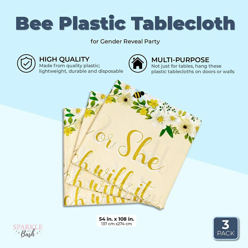 Sparkle and Bash Bee Plastic Tablecloth for Gender Reveal Pa