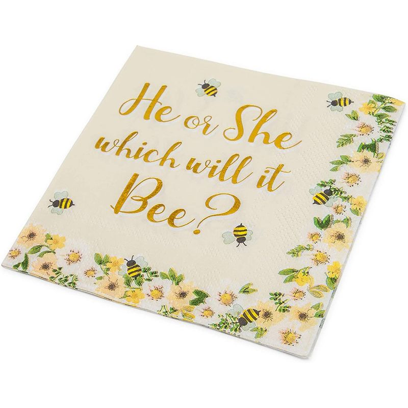 Gender Reveal Bee Theme Party Pack, He Or She What Will It Bee (Serves 24, 75 Pieces)