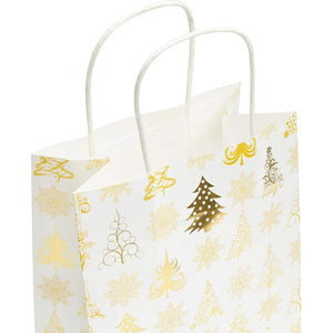 15 Christmas Party Gift Bags, 24 Sheets of Tissue Paper (8 x 10 x 4.7 in, 39 Pieces)