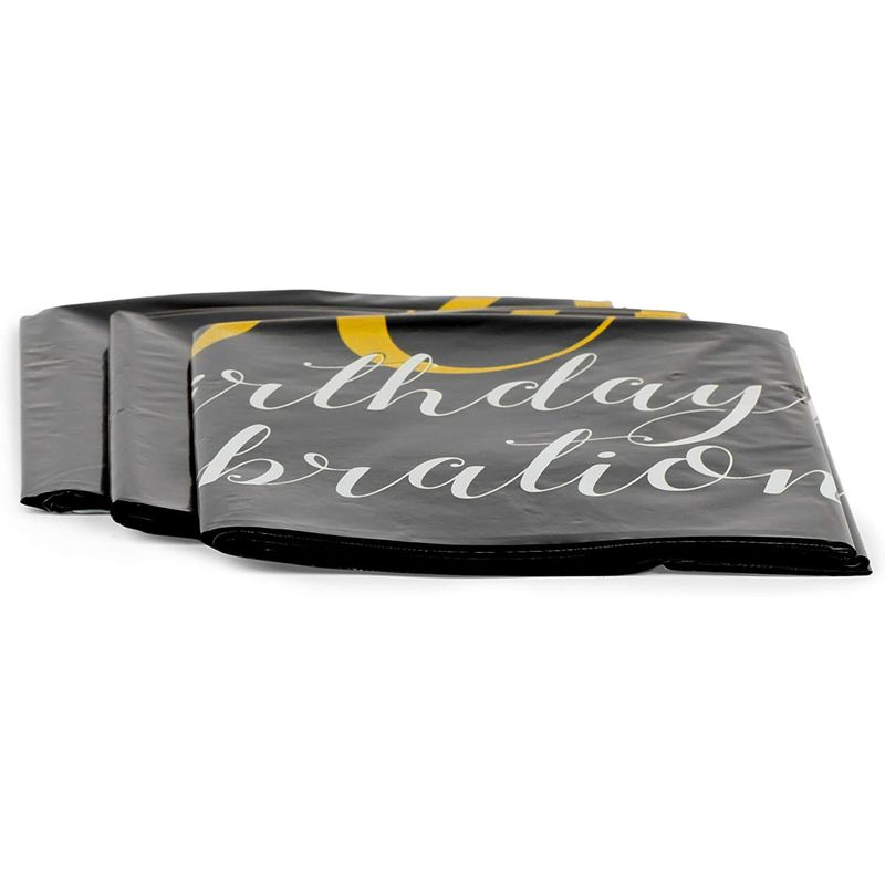Black Plastic Tablecloth for 90th Birthday Party (54 x 108 in, 3 Pack)