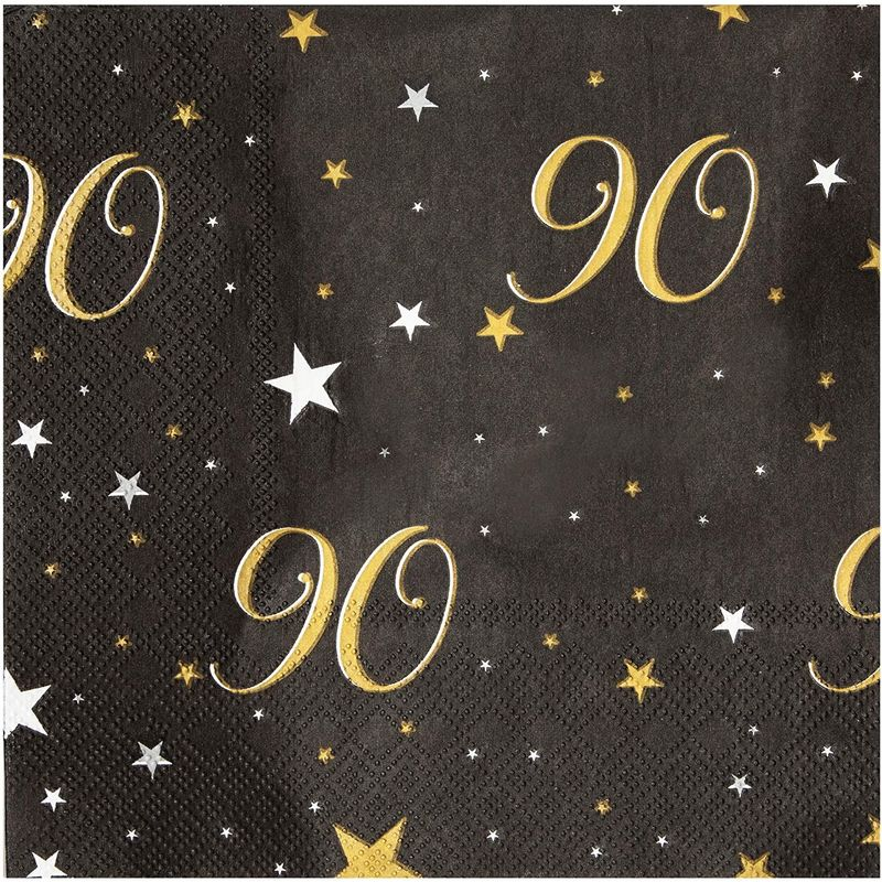 90th Birthday Party Paper Napkins (6.5 x 6.5 Inches, 100 Pack)