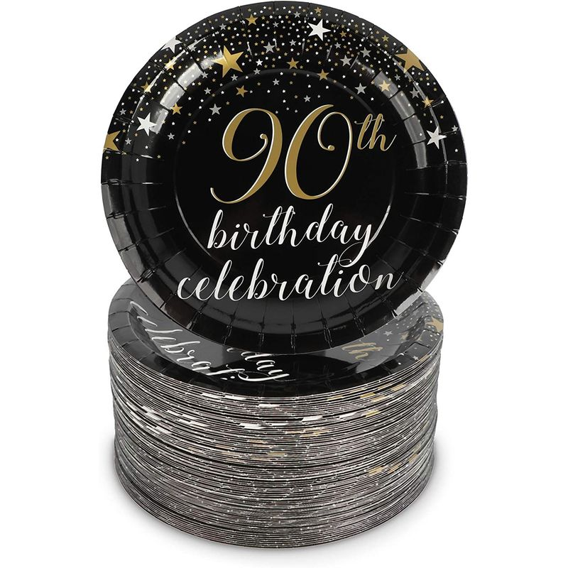 90th Birthday Party Decorations, Paper Plates (7 In, 80-Pack
