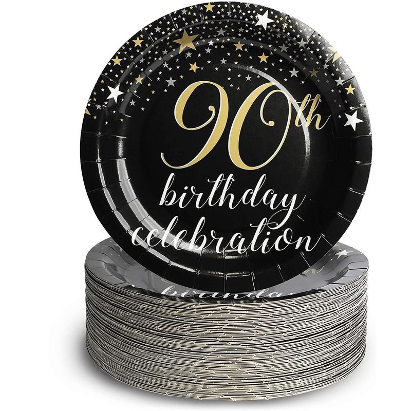 90th Birthday Party Decorations, 9 Inch Paper Plates (80-Pac