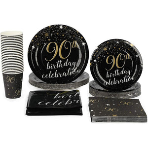 90th Birthday Party Pack, Dinnerware, Banner, Tablecloth (Serves 24, 99 Pieces)