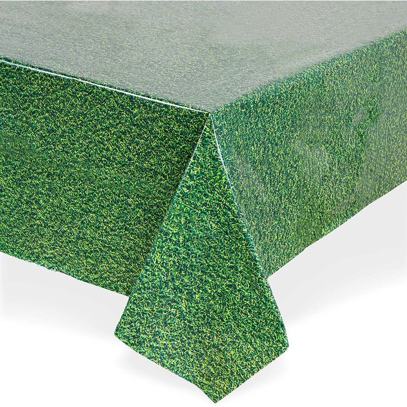Grass Field Plastic Table Cloth for Sports Party (54 x 108 in, 3 Pack)
