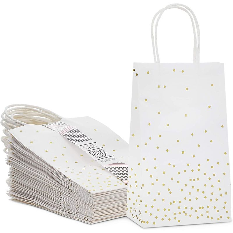 Small White Gift Bags with Handles, Gold Foil Polka Dots (8.6 x 3.5 in, 25 Pack)