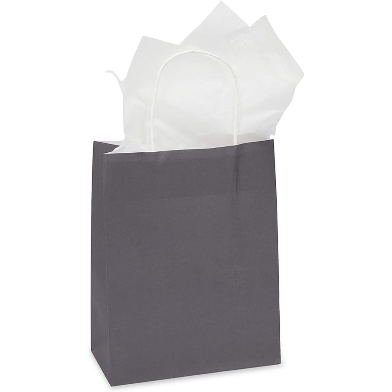 Medium Gift Bags with Handles, Dark Grey (8 x 10 x 4 Inches, 25 Pack)