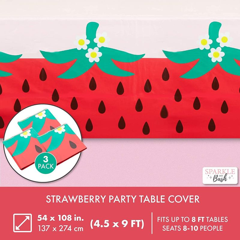 Pink Plastic Tablecloth for Strawberry Party Decorations (54 x 108 in, 3 Pack)