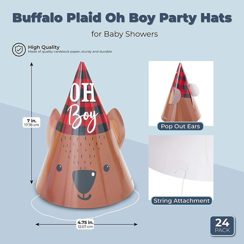 Lumberjack Cone Party Hats for Baby Shower Supplies (4.75 x