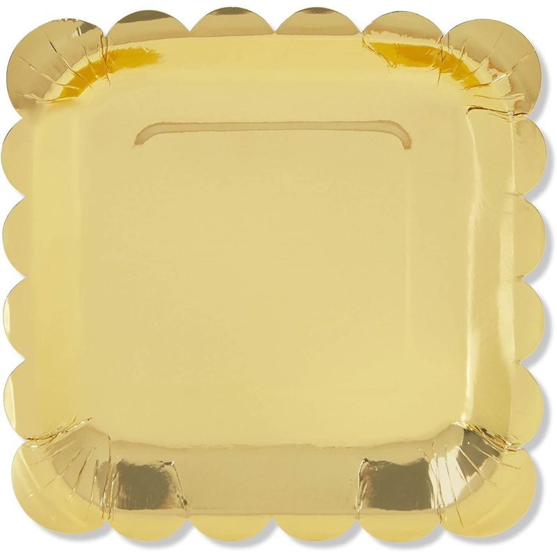 Gold Foil Paper Plates for Parties, Square, Scalloped Edge (