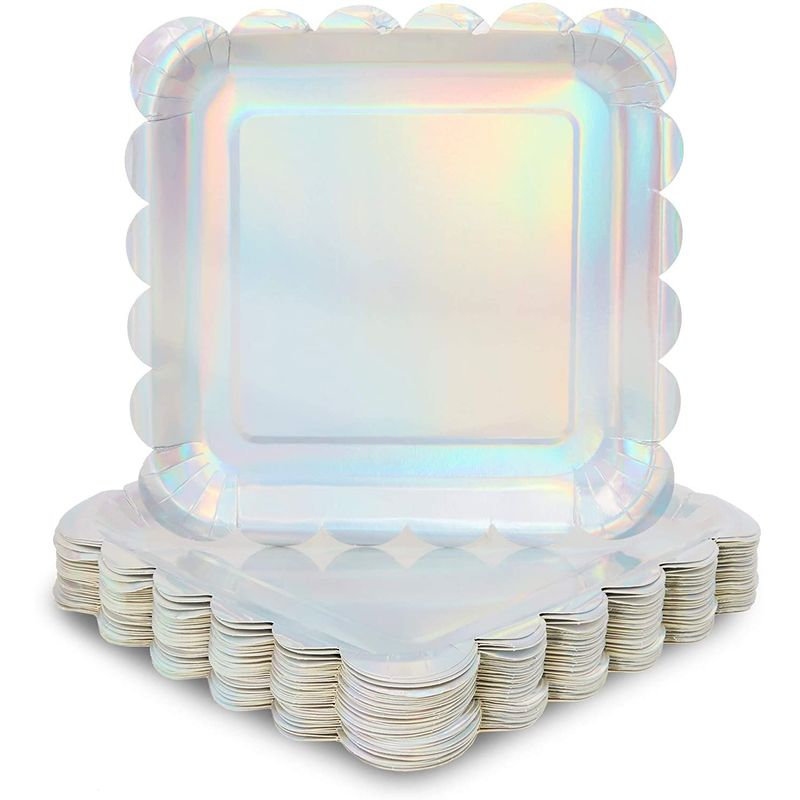 Holographic Silver Foil Square Paper Plates, Scalloped Edge
