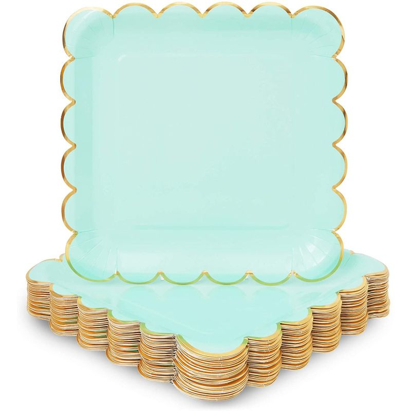 Pastel Green Square Paper Plates, Gold Foil Scalloped Edge (