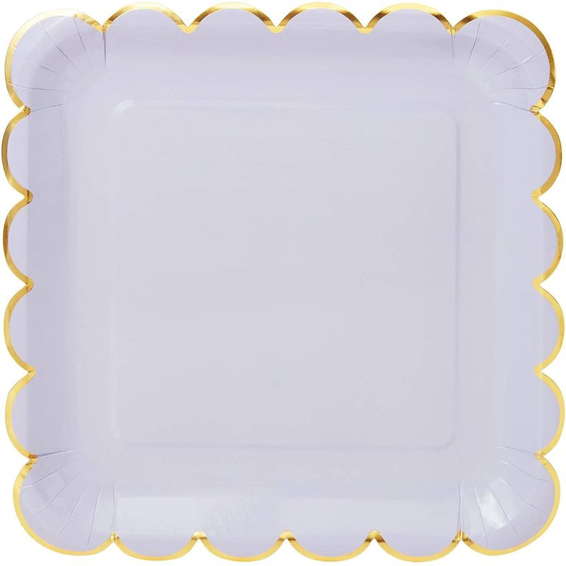 Pastel Purple Square Paper Plates, Gold Foil Scalloped Edge