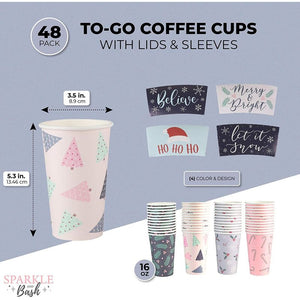 Paper Coffee Cups with Lids and Sleeves in 4 Christmas Designs (16 oz, 48 Pack)