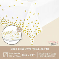 Plastic Tablecloth, White with Gold Confetti (54 x 108 in, 6