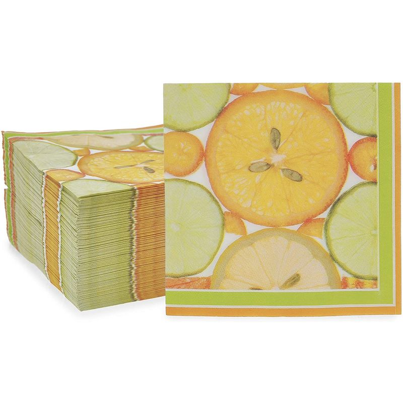 Citrus Fruit Paper Napkins for Summer Party (6.5 x 6.5 Inches, 150 Pack)