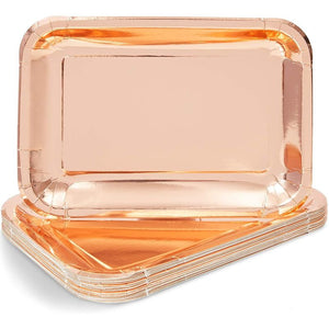 Sparkle and Bash Rose Gold Foil Paper Serving Trays for Part