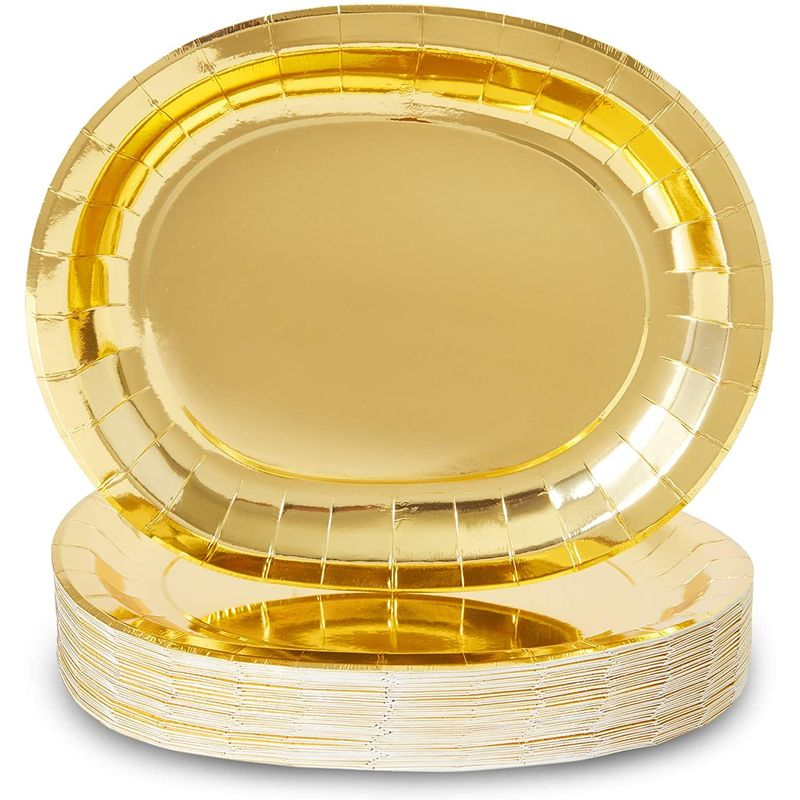 Oval Serving Platters for Parties, Gold Foil Paper Tray (12.