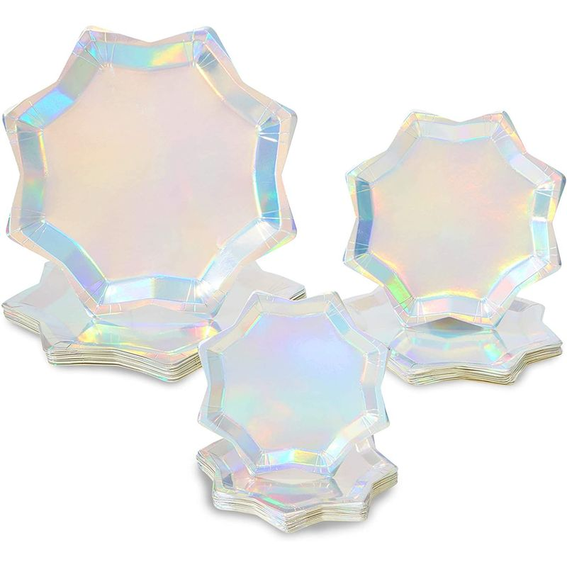 Holographic Octagon Shaped Party Plates, Iridescent Plates i