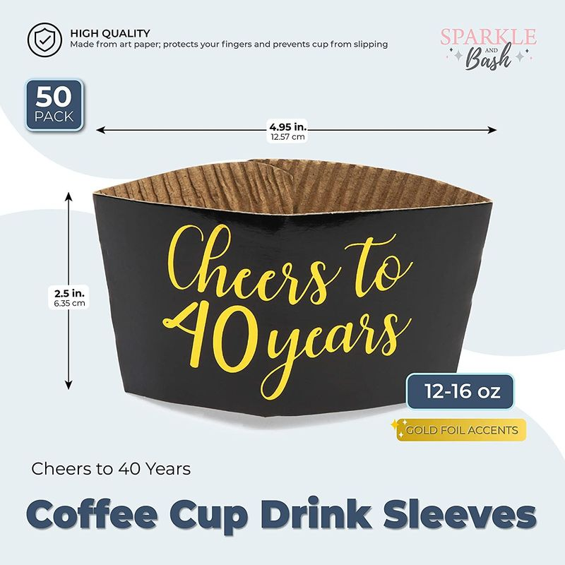 Coffee Cup Drink Sleeves, 40th Anniversary, Fits 12-16 oz (Gold Foil, 50 Pack)