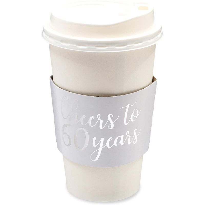 Cheers to 60 Years Coffee Cup Drink Sleeves for 60th Anniversary or Birthday, Fits 12-16 oz Cups, Fits 12-16 oz (Silver Foil, 50 Pack)