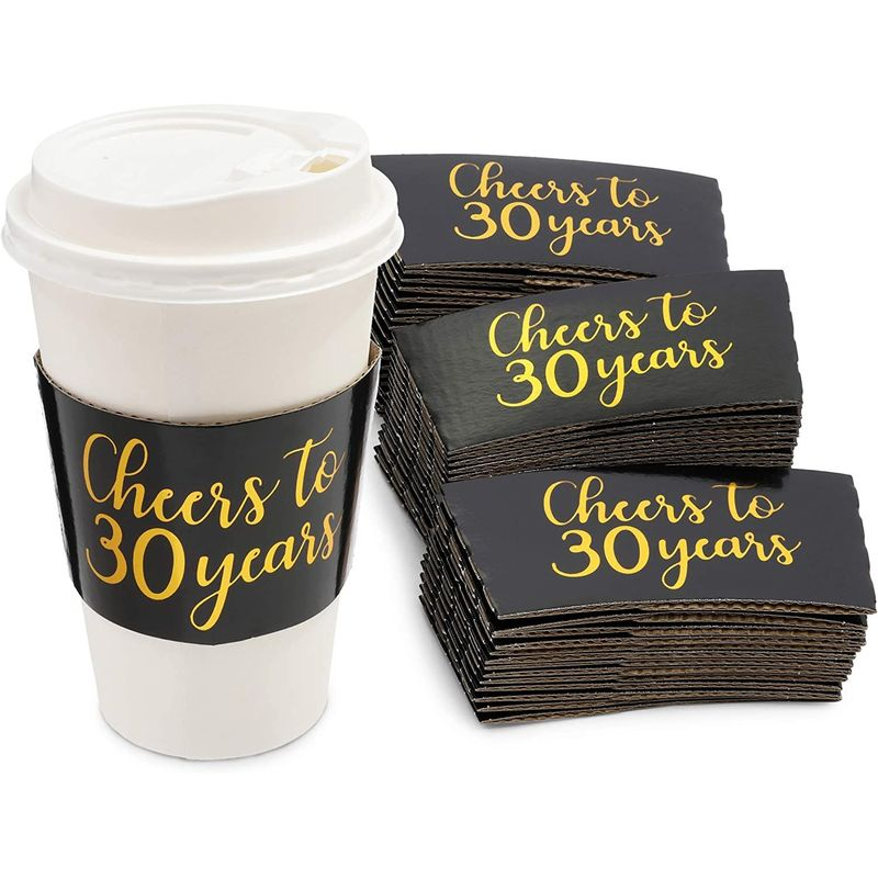 Coffee Cup Drink Sleeves, 30th Anniversary, Fits 12-16 oz (G