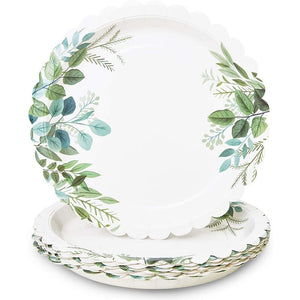 White Scalloped Paper Plates Wedding, Bridal Shower Supplies