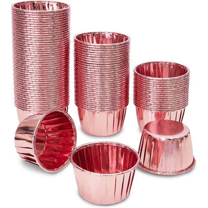 Rose Gold Cupcake Liners, Foil Baking Cups (2.75 x 1.5 In, 1