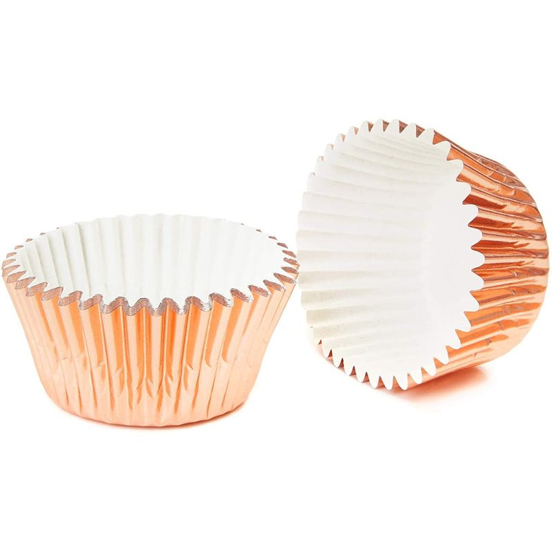 Rose Gold Cupcake Liners, Foil Baking Cups (1.96 x 1.28 In,