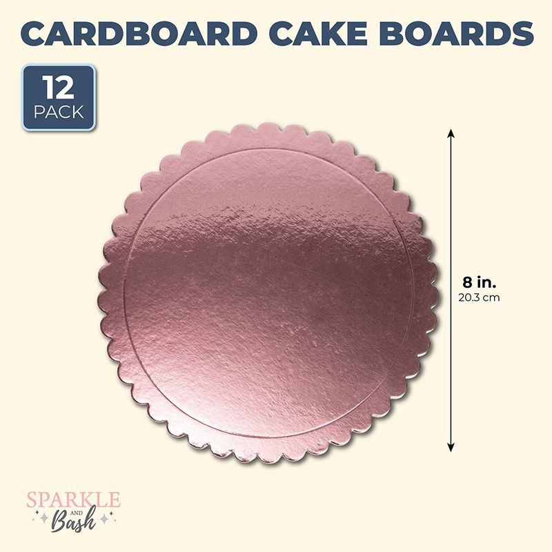 Round Cake Boards, Scallop Edge (8 in, Rose Gold, 12-Pack)
