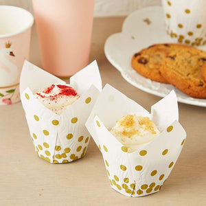 Gold Polka Dot Muffin and Cupcake Liners (White, 3.35 x 3.5 In, 150 Pack)