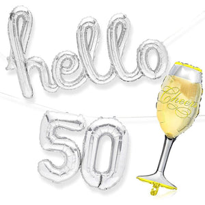 50th Birthday Party Foil Balloons, Hello 50, Champagne Glass (4 Pieces)