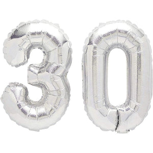 30th Birthday Party Foil Balloons, Hello 30, Champagne Glass (4 Pieces)