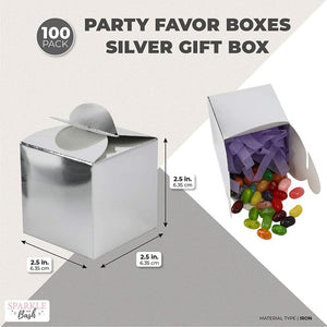 Party Favor Boxes, Silver Gift Box (2.5 x 2.5 x 2.5 in, 100-